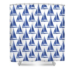 Blue And White Sailboats Pattern- Art By Linda Woods Shower Curtain by Linda Woods