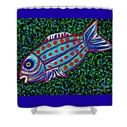 Blue Fish Shower Curtain by Sarah Loft
