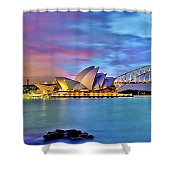 Blue Harbour Shower Curtain by Az Jackson