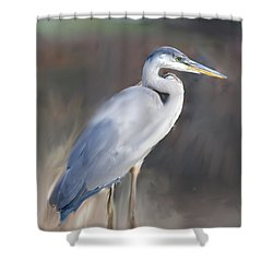 Blue Heron Painting  Shower Curtain by Don  Wright