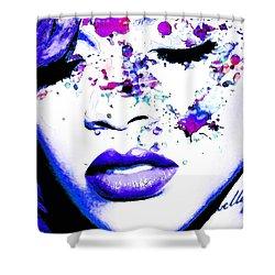 Blue Rihanna Shower Curtain by Alex Antoine