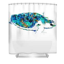 Blue Sea Turtle By Sharon Cummings  Shower Curtain by Sharon Cummings