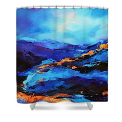 Blue Shades Shower Curtain by Elise Palmigiani
