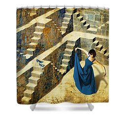 Blue Shoes Shower Curtain by Van Renselar