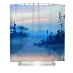 Blue Solitude Shower Curtain by Cathy Weaver
