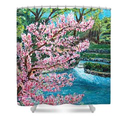 Blue Spring Shower Curtain by Carolyn Donnell