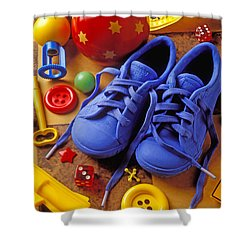 Blue Tennis Shoes Shower Curtain by Garry Gay