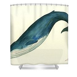 Blue Whale Painting Shower Curtain by Juan  Bosco