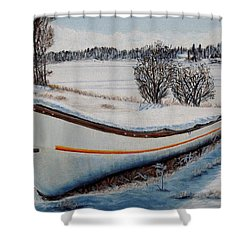 Boat Under Snow Shower Curtain by Marilyn  McNish