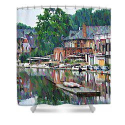 Boathouse Row In Philadelphia Shower Curtain by Bill Cannon