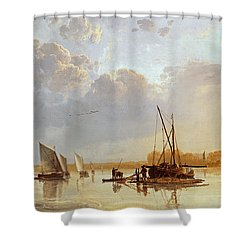 Boats On A River Shower Curtain by Aelbert Cuyp