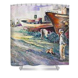 Boats Yard In Villajoyosa Spain Shower Curtain by Miki De Goodaboom
