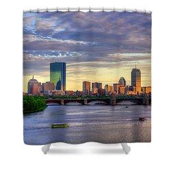 Boston Skyline Sunset Over Back Bay Shower Curtain by Joann Vitali