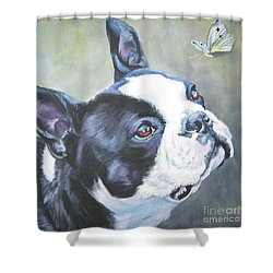 boston Terrier butterfly Shower Curtain by Lee Ann Shepard