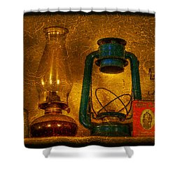 Bottles And Lamps Shower Curtain by Evelina Kremsdorf