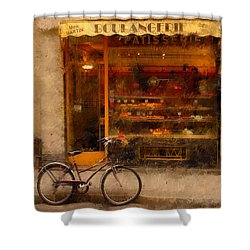 Boulangerie And Bike 2 Shower Curtain by Mick Burkey