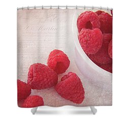 Bowl Of Red Raspberries Shower Curtain by Cindi Ressler