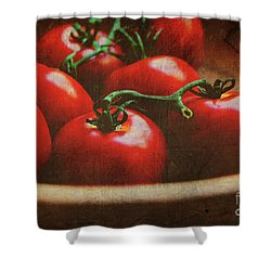 Bowl Of Tomatoes Shower Curtain by Toni Hopper