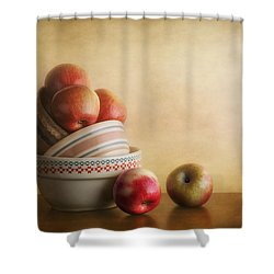 Bowls And Apples Still Life Shower Curtain by Tom Mc Nemar