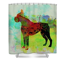 Boxer Watercolor Shower Curtain by Naxart Studio