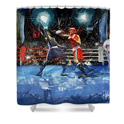 Boxing Night Shower Curtain by Murphy Elliott