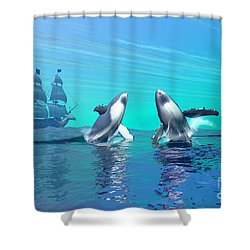 Breaching Shower Curtain by Corey Ford