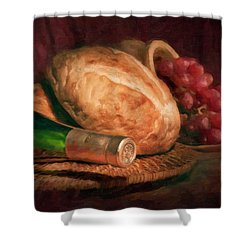 Bread And Wine Shower Curtain by Tom Mc Nemar