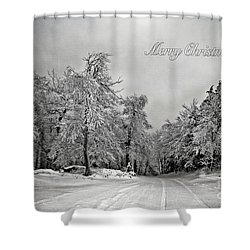 Break In The Storm Christmas Card Shower Curtain by Lois Bryan