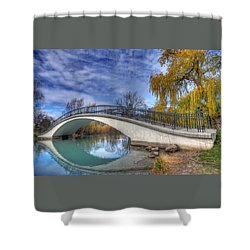Shower Curtain featuring the photograph Bridge At Elizabeth Park by Rodney Campbell