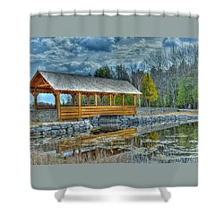 Shower Curtain featuring the photograph Bridge Over The Thunder Bay River by Rodney Campbell