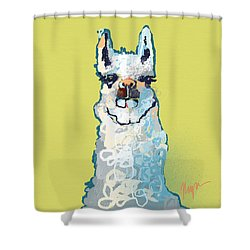 Bright Mustard Llama Shower Curtain by Niya Christine