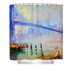 Brooklyn Bridge In A Foggy Morning Shower Curtain by Ylli Haruni