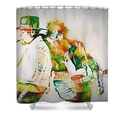 Bruce And The Big Man Shower Curtain by Dan Sproul