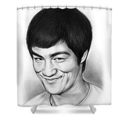 Bruce Lee Shower Curtain by Greg Joens