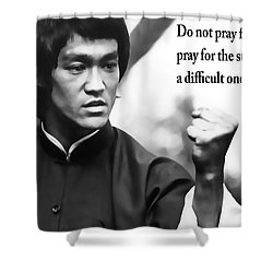 Bruce Lee On Enduring Life's Challenges Shower Curtain by Daniel Hagerman