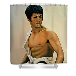 Bruce Lee Painting Shower Curtain by Paul Meijering