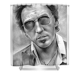 Bruce Springsteen Shower Curtain by Greg Joens