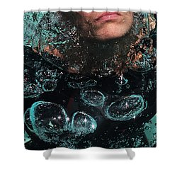 Bubble Maker. Lady Diver Shower Curtain by Jenny Rainbow