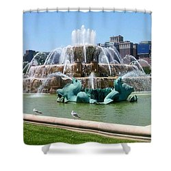 Buckingham Fountain Shower Curtain by Anita Burgermeister
