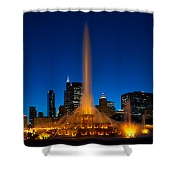 Buckingham Fountain Nightlight Chicago Shower Curtain by Steve Gadomski