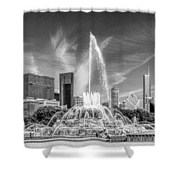 Buckingham Fountain Skyline Panorama Black And White Shower Curtain by Christopher Arndt