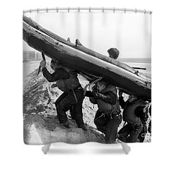 Buds Students Carry An Inflatable Boat Shower Curtain by Michael Wood
