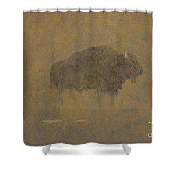 Buffalo In A Sandstorm Shower Curtain by Albert Bierstadt