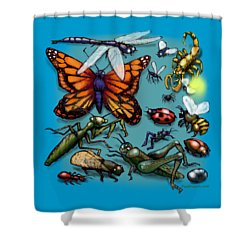 Bugs Shower Curtain by Kevin Middleton