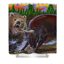 Bull And Bear Shower Curtain by Carey Chen