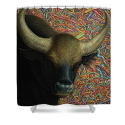 Bull In A Plastic Shop Shower Curtain by James W Johnson