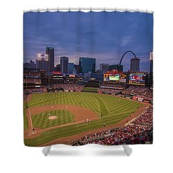 Busch Stadium St. Louis Cardinals Ball Park Village Twilight #3c Shower Curtain by David Haskett