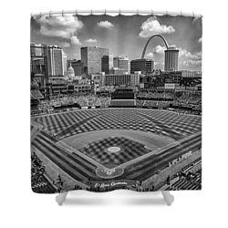 Busch Stadium St. Louis Cardinals Black White Ballpark Village Shower Curtain by David Haskett