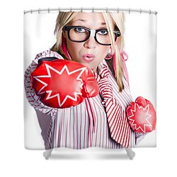 Businesswoman Training Shower Curtain by Jorgo Photography - Wall Art Gallery