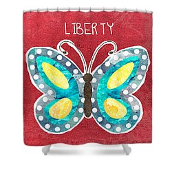 Butterfly Liberty Shower Curtain by Linda Woods